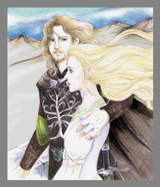 "Eowyn & Faramir are my absolute favorite LOTR characters.  It's a shame that their love story was basically eliminated from the movies.  ""Then the heart of Eowyn changed, or else at last she understood it. And suddenly her winter passed, and the sun shone on her."" - my favorite line of the entire trilogy.    I mean, come on... way better love story than (ugh) Twilight... just sayin'.    Art by Kame Urashima on deviantart.net."