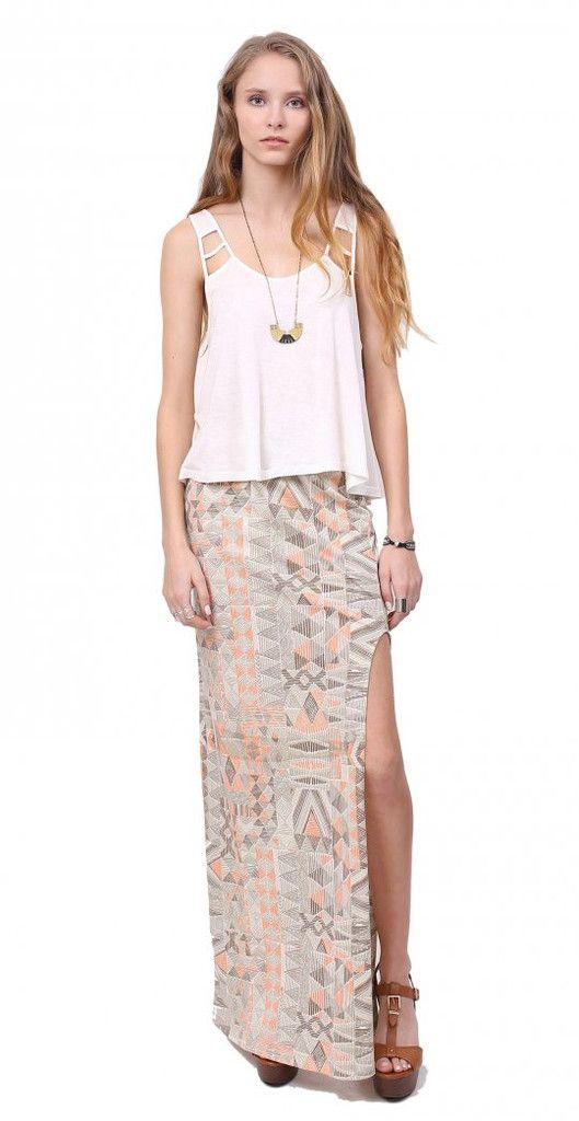 Zoe Maxi Slit Skirt. gentle fawn, $62