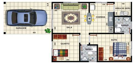 Planta de casas pequenas 2 quartos com garagem