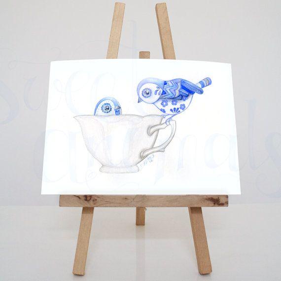 Originele aquarel vogels / waterverf schilderij / door SweetAnimals
