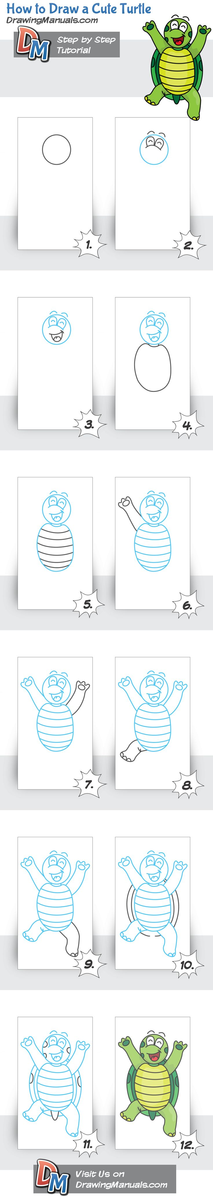 How to draw a cute turtle for kids step by step doodles for How to draw doodles step by step