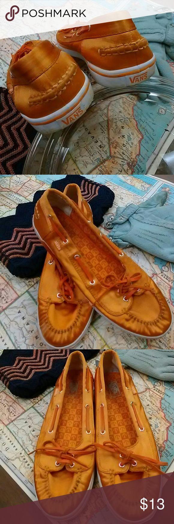 Vans Boat Shoe Style Orange Board Shoes Vans Boat Shoe Style Orange Board Shoes Slightly Used Vans Shoes Sneakers