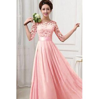 KettyMore Women Prom Dresses Long Chiffon Wedding Dresses Lace Decorated Party Dresses Pink