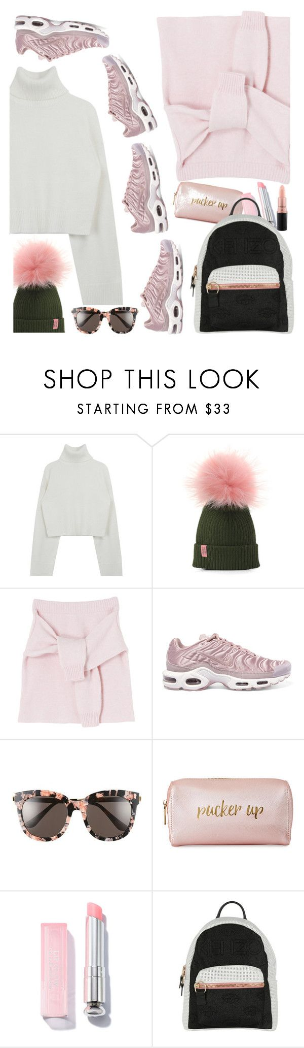 """""""Pink & Grey"""" by petalp ❤ liked on Polyvore featuring NIKE, Gentle Monster, Neiman Marcus, Kenzo, MAC Cosmetics and skirt"""