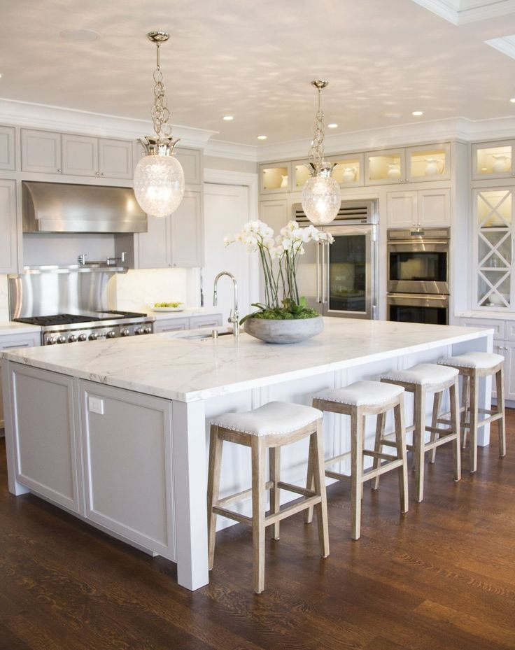 White Kitchen, Dream Kitchen, Big Island And Marble Top And Bar Stools