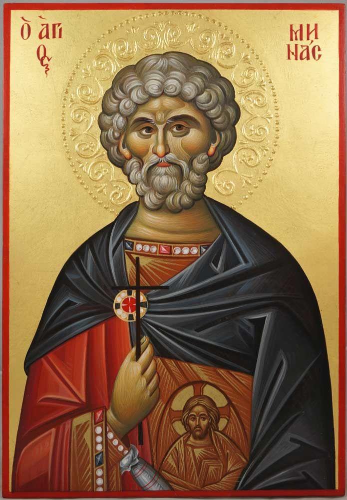 Saint Menas (halo relief) Hand-Painted Byzantine Icon
