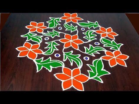 Simple Bhogi Kundala Muggu With 9 x 1 Dots || Easy Bhogi Kundalu || Pongal Kolam || Fashion World - YouTube