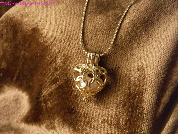 Halskette 24 Karat Vergoldet Herz Perle Käfig Necklace Liebe Love Heart Pearl