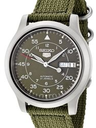 Seiko 5 Military Green Dial Automatic Watch with Green Canvas Strap #SNK805K2