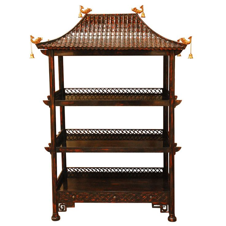 Chinoiserie Lacquer Etagere | From a unique collection of antique and modern shelves at https://www.1stdibs.com/furniture/storage-case-pieces/shelves/
