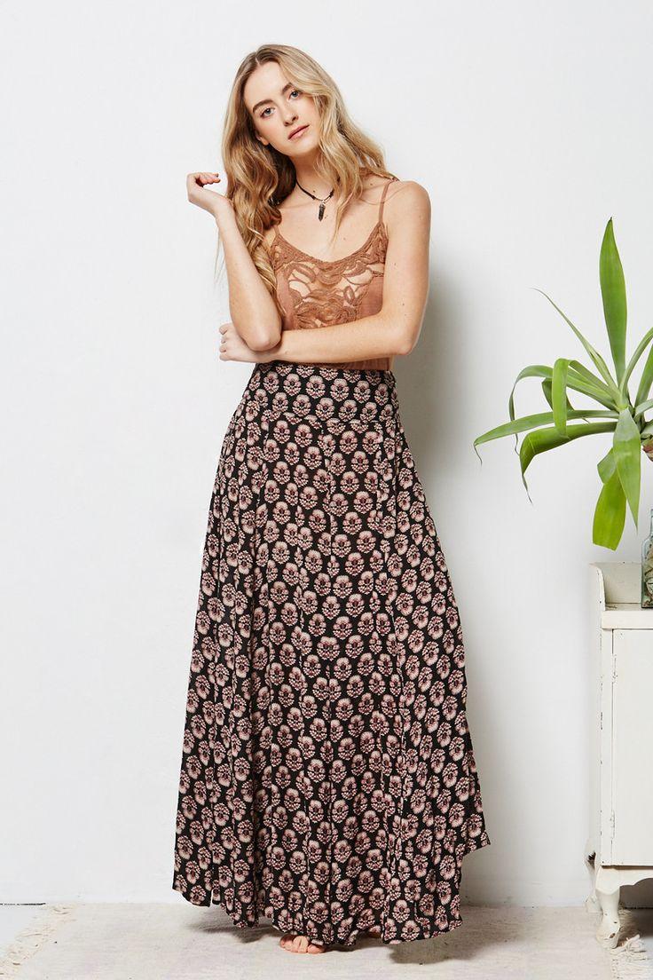 Tree of Life | Sahara Skirt in Black #maxiskirt #patterened