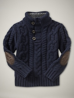 chunky sweaters are adorable! Elbow patches look like a tiny professor. This blue would make his eyes really POP!