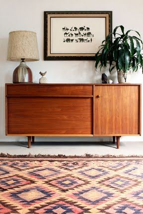 Living room - Vintage credenza - Home of Gregory Beauchamp, California - Via Design Sponge
