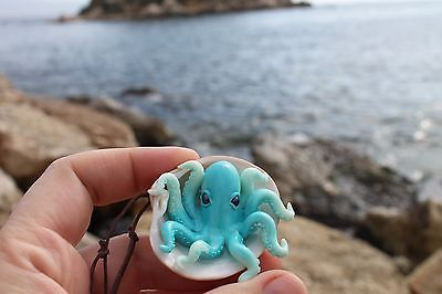 Blue Octopus inside a seashell/pendant necklace jewelry/ handmade/ polymer clay
