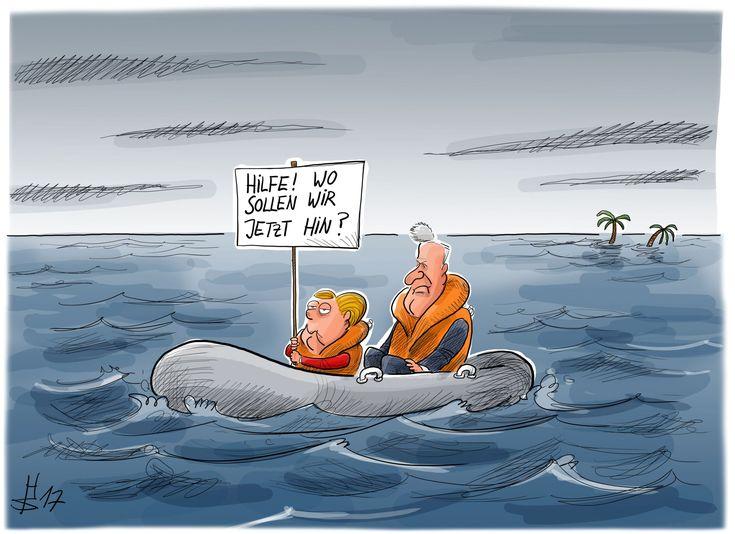 Merkel und Seehofer auf einem Schlauchboot, vom untergehenden Jamaika wegtreibend