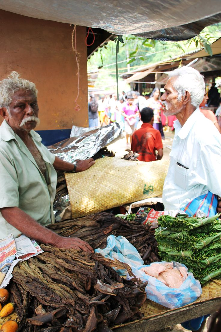verkopers van pruim tabak / betel leaves / areca nut op de lokale markt Sri Lanka