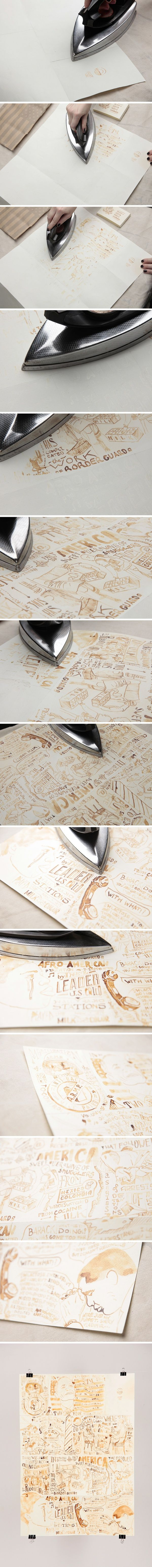 DIY :: Draw with milk on paper, let dry for 30 minutes, and then iron to reveal!