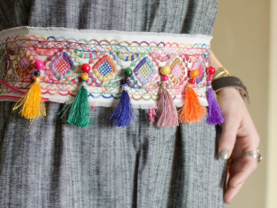 Boho Off White Embroidered Sash Belt with Multicolor Silk Tassels and Wood Beads - The Ibiza Belt