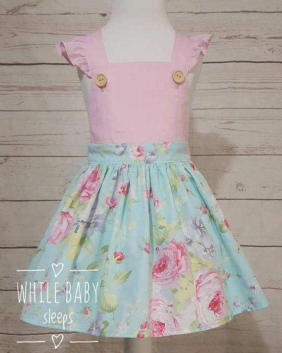 Girls Pinafore Pinny Dress Cross Back Flutter Sleeves Custom Order