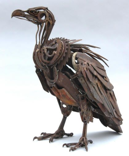 Vulture make from salvaged gears and auto parts. Artist is Harriet Mead