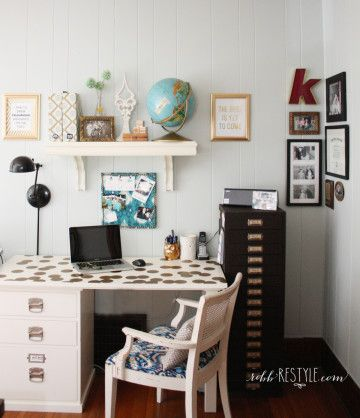 Dining Room Restyle + Home Office by RobbRestyle.com