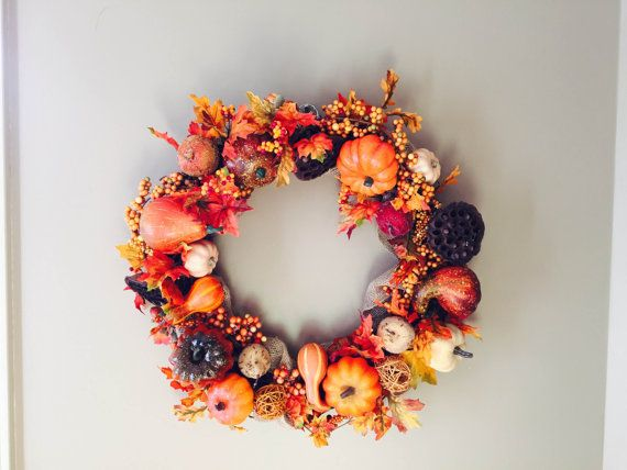 Fall Wreath Autumn Wreath Harvest Wreath  by LuckySophieCrafts Beautiful colours in this wreath! Great for Fall and Thanksgiving!