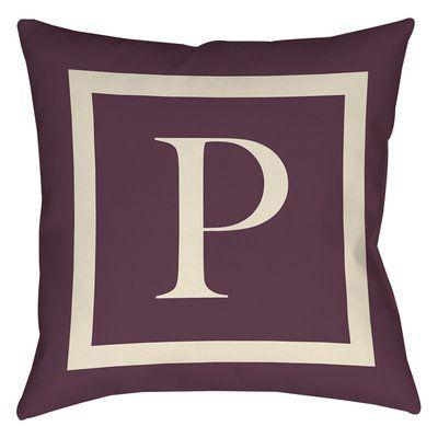 "Red Barrel Studio Lansdowne Outdoor Pillow Cover Size: 16"" H x 16"" W x 4"" D, Color: Eggplant, Letter: P"