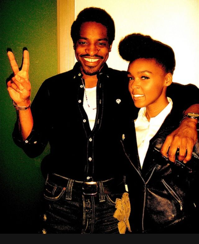 Andre 3000 with Janelle Monáe .......  Janelle Monáe Robinson, known as Janelle Monáe, is an American R&B and soul musician, composer and record producer signed to Wondaland Art Society, Bad Boy Records and Atlantic Records. Wikipedia