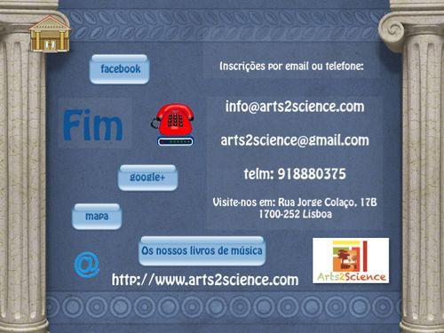 Contactos da Arts2Science. Escola de Música e Tecnologias em Lisboa, Alvalade.
