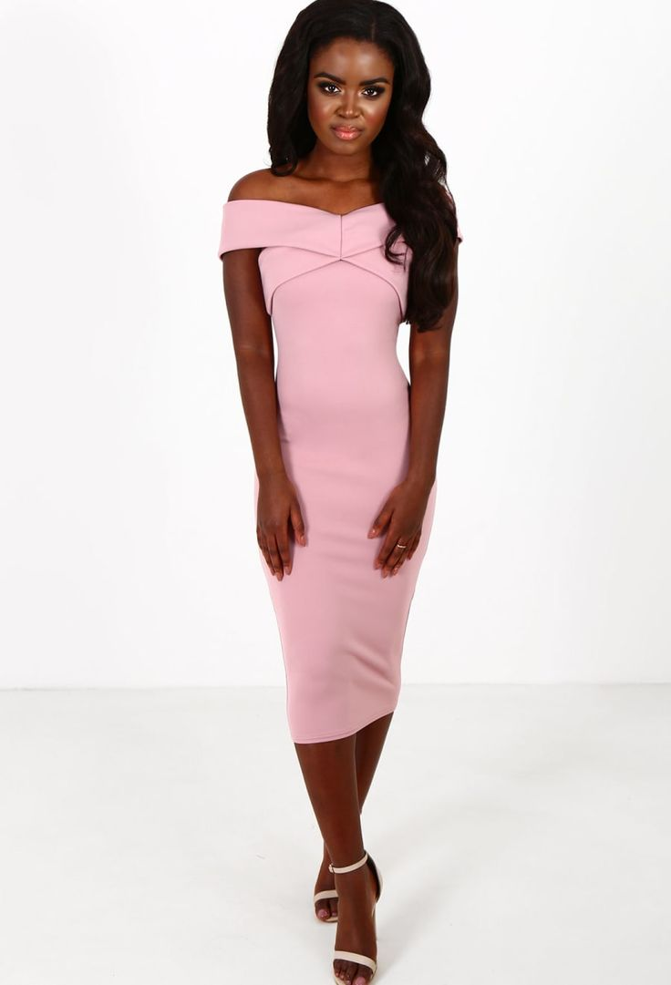Teigan Pink Bardot Midi Dress