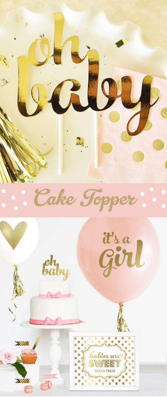 Oh Baby Cake Topper decorations for a Pink and Gold Baby Shower Cake! This stylish gold baby cake topper spells out OH BABY in script gold letters -