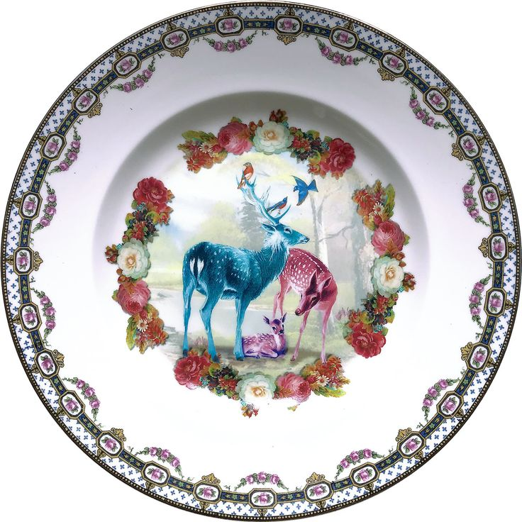 Deer Family - Vintage Porcelain Plate - #0573 by ArtefactoStore on Etsy