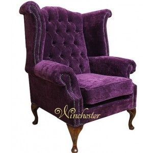 Winchester Chesterfield Fabric Queen Anne High Back Wing Chair