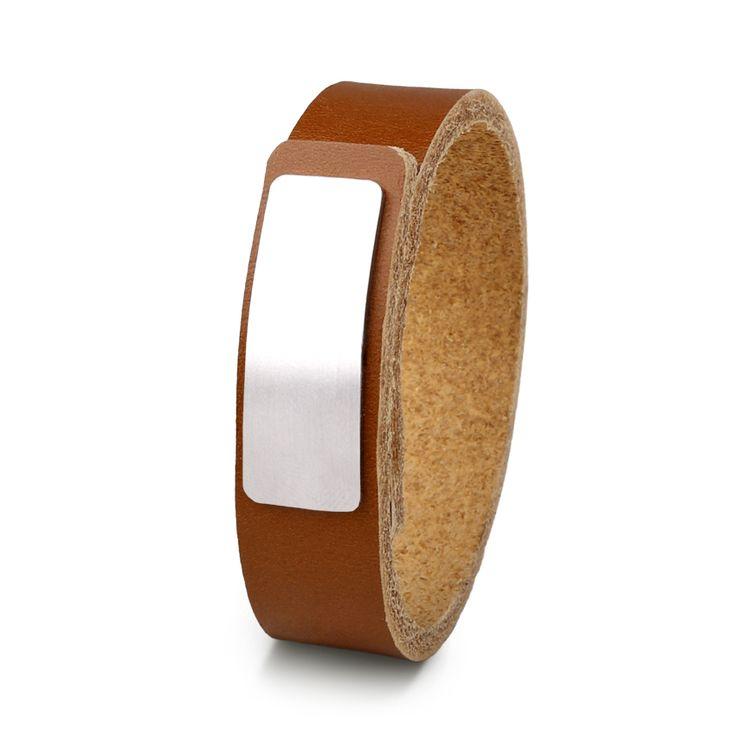 Wear Clint - Tuigleren armband (18mm / cognac) met RVS-sluiting. Een stoer design voor mannen en vrouwen!