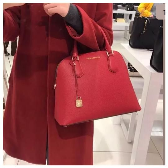 a6366ae607b4d6 Michael Kors Adele Large Dome Satchel Leather in ScarletNWT (New with  tag)Style: 35H8GAFS3LColor: scarletRetail: $378.00Details:Leather with gold  tone stud ...