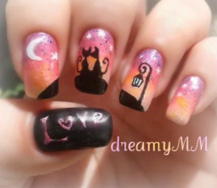 Nail Art How To: Cats in Love At Dawn Nails