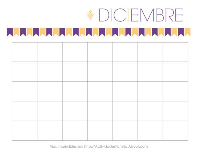 Calendarios Personalizables: Calendario de Diciembre