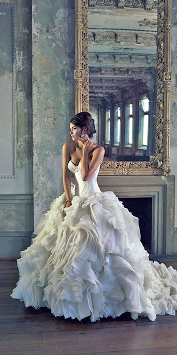 fashion feather bridal gowns 1