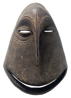 "Democratic Republic of Congo, Hemba people - The extremely stylized chimpanzee masks are called mwisi gwa so'o a term that alludes to the ""spirit-ivested object of the chimpanzee human"" that inhabits the mask"