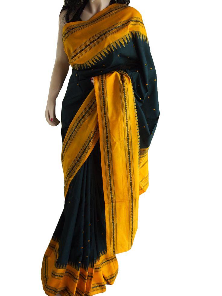 Green & Yellow Pure South Silk Saree