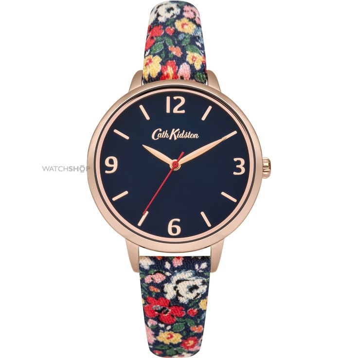 Ladies Cath Kidston Mews Ditsy Navy Fabric Strap Watch CKL002URG