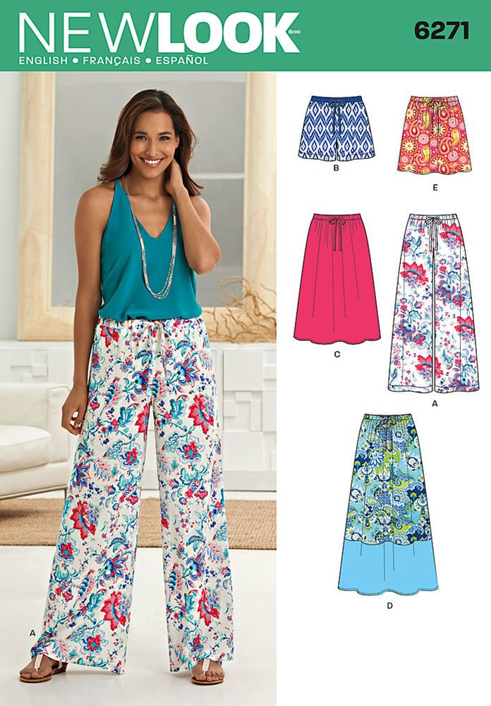"""make a bottom for any outfit at any time of year with these skirts and wide leg pants or shorts. long skirt has contrast lower hem band. all items have elastic drawstring waist. new look sewing pattern. <p> </p><img src=""""skins/skin_1/images/icon-printer.gif"""" alt=""""printable pattern"""" /> <a href=""""#"""" onclick=""""toggle_visibility('foo');"""">printable pattern terms of sale</a> <div id=""""foo"""" style=""""display:none; margin- top: 10px;"""">digital patterns are tiled and labeled so you can print and..."""