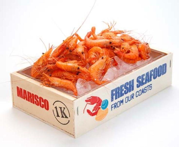 Mini caja madera pescados y mariscos mercado....