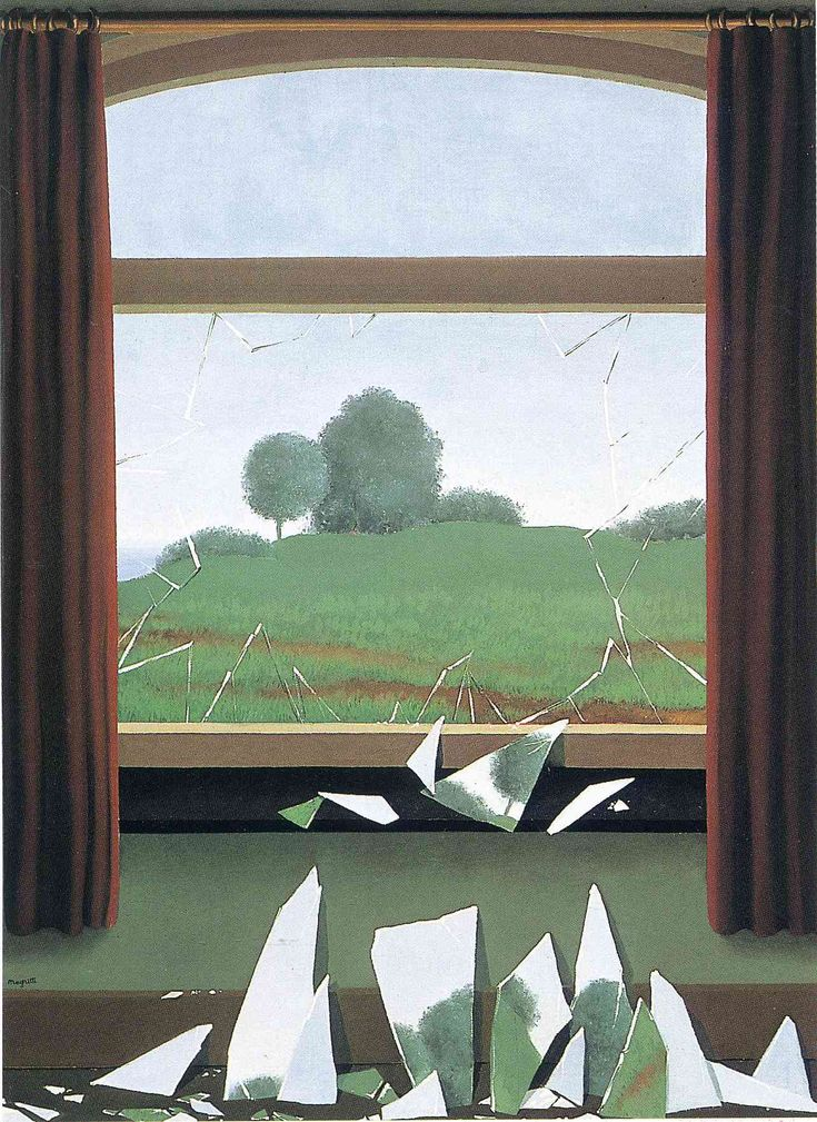 The Key to the Fields by Rene Magritte (Belgium). The indoor/outdoor landscape approach is a good way to frame a landscape.
