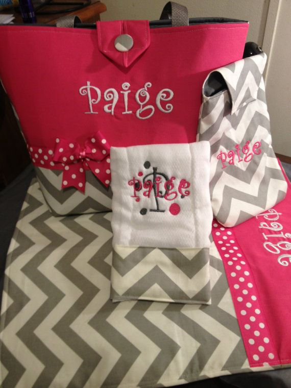 Monogrammed gray and white chevron and Pink  Diaper by babybags, $79.99