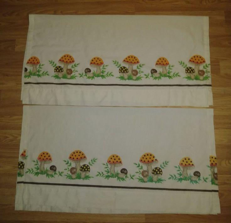 VTG Sears MERRY MUSHROOM retro Curtain panels brown orange ~ Made in USA