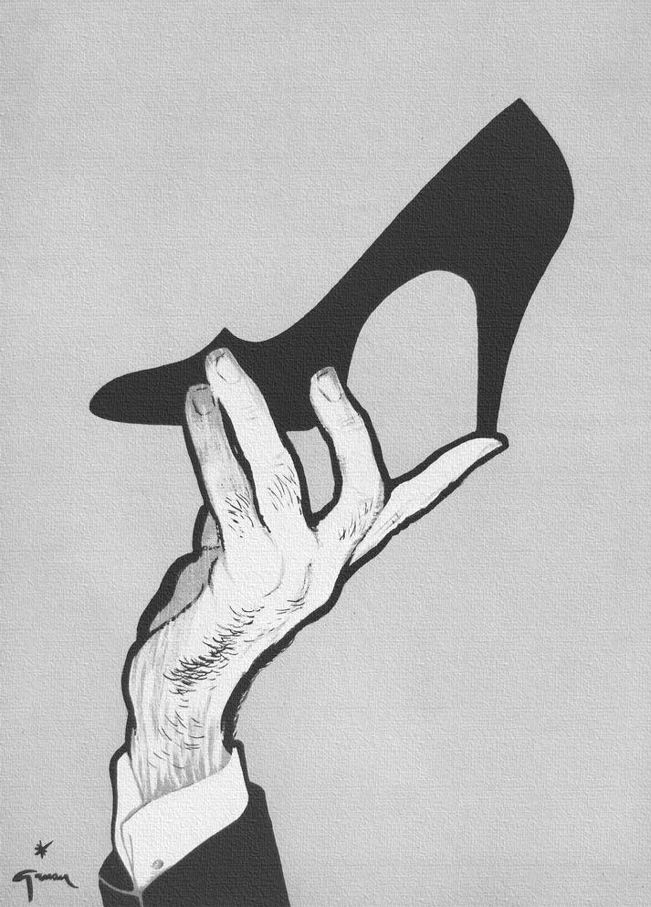 1954 Delman Shoe ad art Illustration by: Rene Gruau