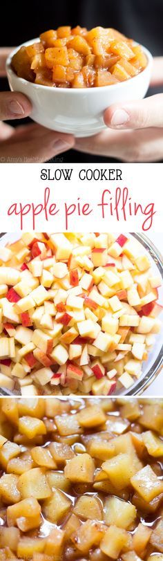 Healthier Slow Cooker Apple Pie Filling -- the easiest recipe you'll ever make! It's clean-eating, SO much better than canned & healthy enough for breakfast too!