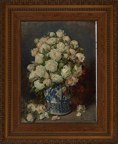 FERDINAND WAGNER TYSK 1847 - 1927  Blomsterstilleben Olje på lerret, 80x59 cm Signert nede til høyre: Ferdin. Wagner München