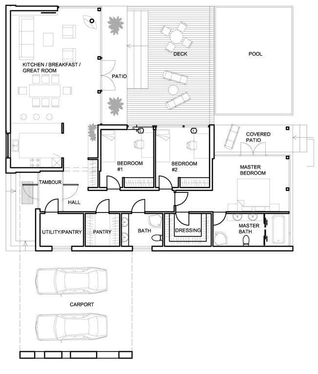 Plano de casa moderna, linda y sencilla, de 3 dormitorios-2